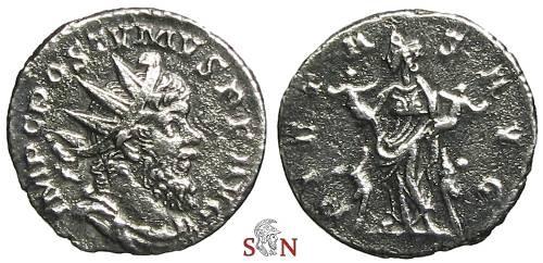 Ancient Coins - Postumus Antoninianus - Pietas holding children - Elmer 395