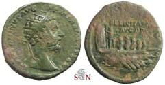 Ancient Coins - Marcus Aurelius Dupondius - FELICITATI AVG P P - Galley with rowers left - RIC 1193
