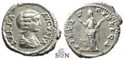 Ancient Coins - Julia Domna Denarius - PIETAS PVBLICA - RIC 574