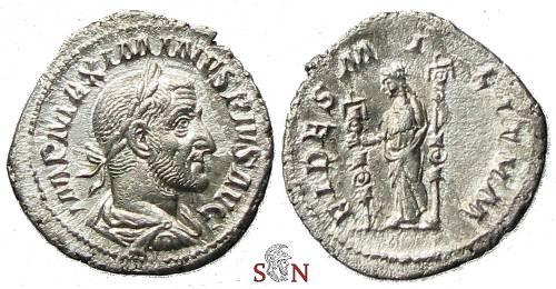 Ancient Coins - Maximinus I Thrax Denarius - FIDES MILITVM - RIC 7a