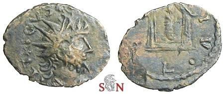 Ancient Coins - Tetricus I Local Imitation - Temple with deity - very rare