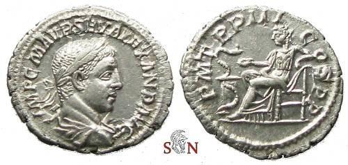 Ancient Coins - Severus Alexander Denarius - Salus seated left - RIC 42