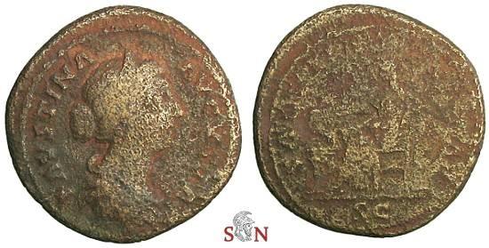 Ancient Coins - Faustina II As - SALVTI AVGVSTAE - RIC 1671