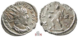 Ancient Coins - Victorinus Antoninianus - INVICTVS - Elmer 683 - COMPLETELY SILVERED - Ex Lückger Collection