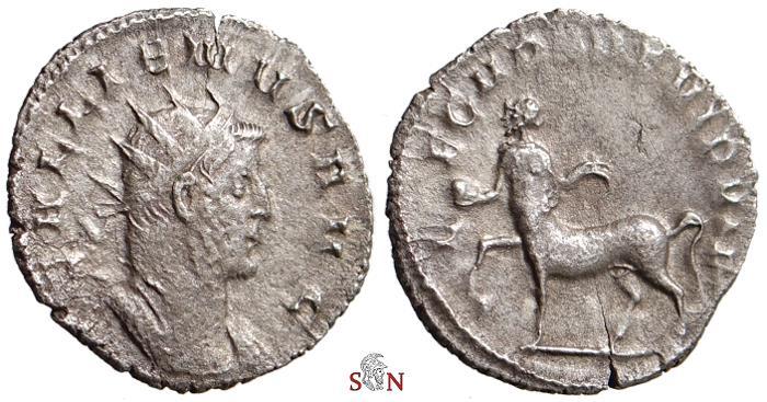 Ancient Coins - Gallienus Antoninianus - LEG II PART VI P VI F - Centaur left - Goebl 996 n