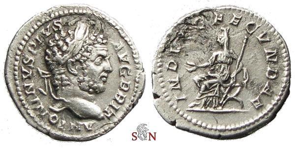 Ancient Coins - Caracalla Denarius - INDVLG FECVNDAE - RIC 214