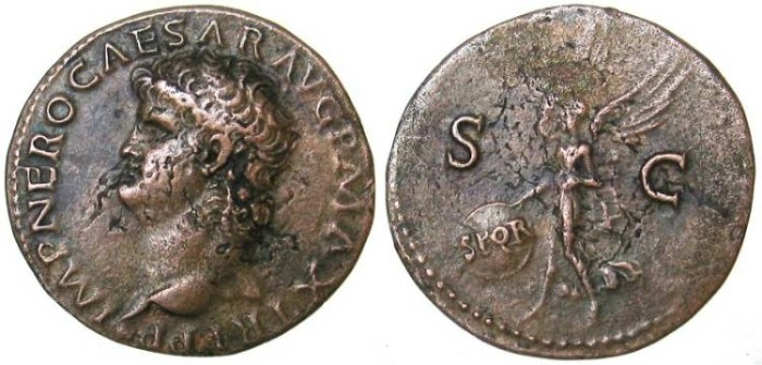 Ancient Coins - Nero As - Victory flying left - RIC 606