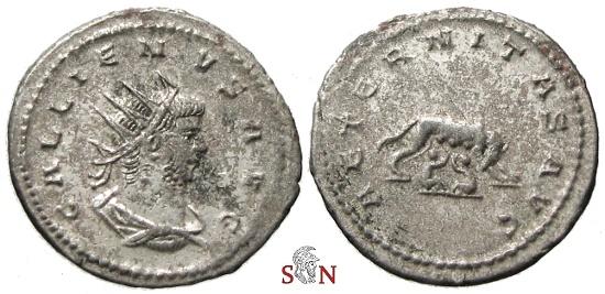Ancient Coins - Gallienus Antoninianus - AETERNITAS AVG - she-wolf suckling twins - RIC 628