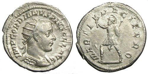 Ancient Coins - Gordianus Antoninianus - MARTI PACIFERO - RIC 212