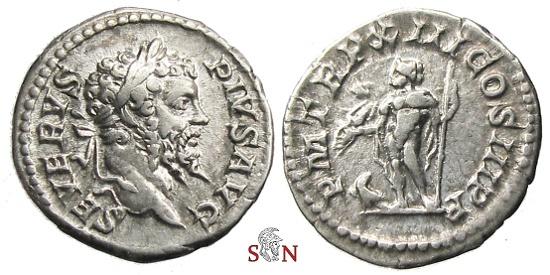 Ancient Coins - Septimius Severus Denarius - Jupiter standing left - RIC 196