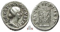 Ancient Coins - Faustina II Denarius - SAECVLI FELICIT - twins on throne - RIC 711