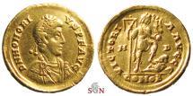 Ancient Coins - Honorius Gold Solidus - VICTORIA AVGGG - RIC 1206