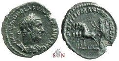 Ancient Coins - Macrinus AE denarius - Macrinus in triumphal quadriga - RIC 36