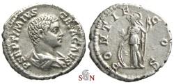 Ancient Coins - Geta Denarius - PONTIF COS - Minerva -  RIC 34 b