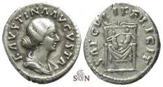 Ancient Coins - Faustina II Denarius - SAECVLI FELICIT - twins on throne - RIC 711
