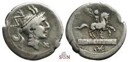 Ancient Coins - L. Marcius Philippus Denarius - Equestrian statue on tablet - Crawford 293/1