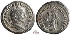 Ancient Coins - Caracalla Denarius - FORT RED - Fortuna Redux - RIC 189