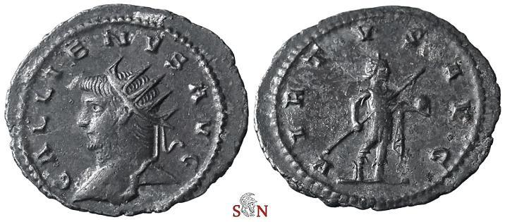 Ancient Coins - Gallienus Antoninianus - VIRTVS AVG - Antioch mint - very rare - Goebl 1636 f (1 specimen)