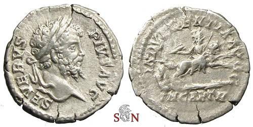 Ancient Coins - Septimius Severus Denarius - INDVLGENTIA AVGG / IN CARTH - RIC 266