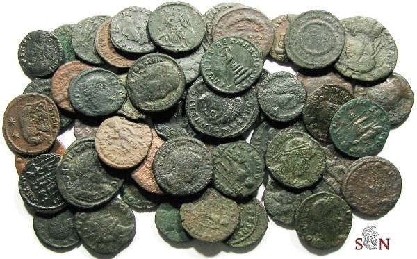 Ancient Coins - Lot of 50 late Roman Imperial Bronzes, many different Emperors, mints and types