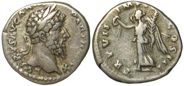 Ancient Coins - Lucius Verus Denarius - Victory advancing left - RIC 574