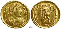 Ancient Coins - Valens Gold Solidus - RESTITVTOR REIPVBLICAE - RIC 25b