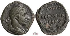 Ancient Coins - Trebonianus Gallus Sestertius - VOTIS DECENNALIBVS SC - RIC 127 a