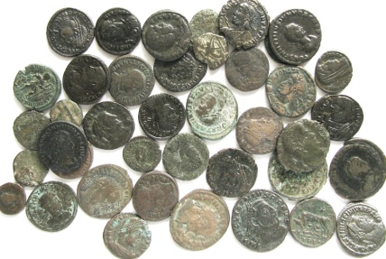 Ancient Coins - Lot of 40 late Roman Bronze Coins - Licinius - Helena - Julianus II . and others