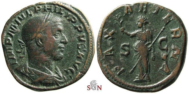 Ancient Coins - Philippus Sestertius - PAX AETERNA - RIC 184a