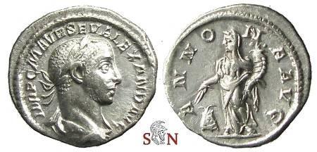 Ancient Coins - Severus Alexander Denarius - ANNONA AVG - RIC 250