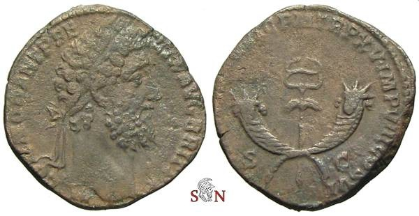 Ancient Coins - Commodus Sestertius - winged caduceus between two crossed curnuacopiae - RIC 566