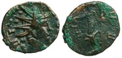 Ancient Coins - Tetricus I Local Imitation - Moneta standing left - barbarous radiate