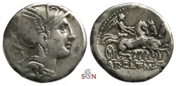 Ancient Coins - T. Manlius Mancinus, Appius Claudius Pulcher, Q. Urbinius Denarius - Victory in triga right - Crawford 299/1a