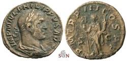 Ancient Coins - Philippus I Sestertius - Felicitas standing left - RIC 149a