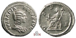Ancient Coins - Julia Domna Denarius - VESTA - RIC 391