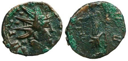 Ancient Coins - Tetricus I Local Imitation - Moneta standing left - barbarous radiate