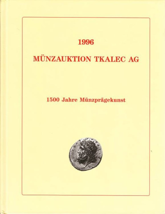 Ancient Coins - Tkalec Auction catalog 25th October 1996, list of prices realised included, hardcover.