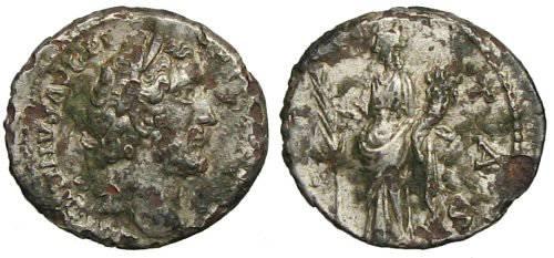 Ancient Coins - Antoninus Pius Fourée denarius - HILARITAS