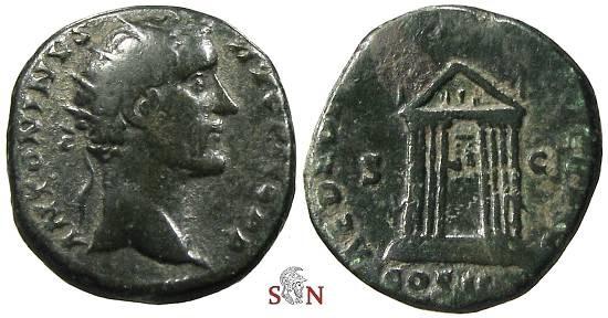 Ancient Coins - Antoninus Pius Dupondius -  AED DIVI AVG REST COS IIII - Octastyle Temple - RIC 795