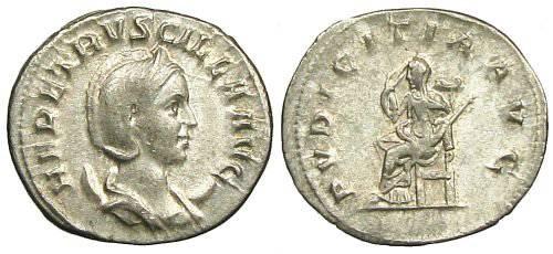 Ancient Coins - Herennia Etruscilla Antoninianus - PVDICITIA AVG - RIC 59b