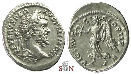 Ancient Coins - Septimius Severus Denarius - Victory advancing left - Laodicea ad Mare - RIC 498