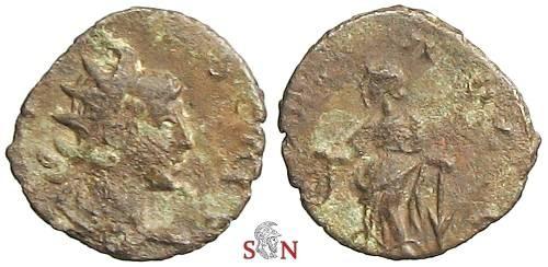 Ancient Coins - Tetricus II - Very Rare Hybrid Antoninianus - LAETITIA AVGG