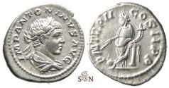 Ancient Coins - Elagabalus Denarius - Providentia leaning on column - RIC 23