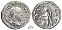 Ancient Coins - Philippus I. Antoninianus - Salus feeding snake - RIC 47