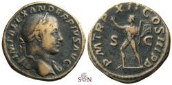 Ancient Coins - Severus Alexander Sestertius - Sol advancing left - RIC 535 b