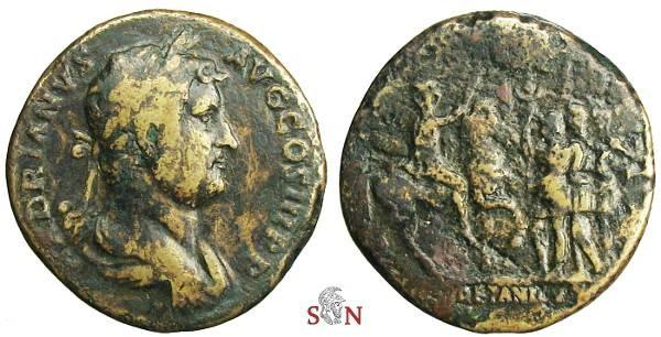Ancient Coins - Hadrianus Sestertius - MAVRETANICVS - Hadrian on horseback - RIC 925