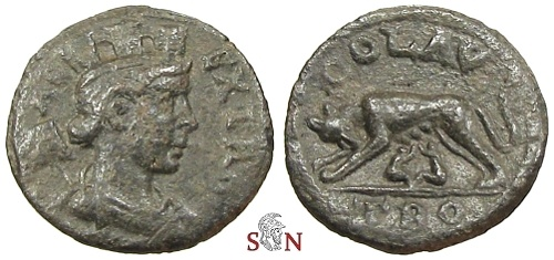 Ancient Coins - Alexandria Troas pseudo-autonomous AE 21 mm - wolf suckling twins