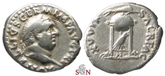 Ancient Coins - Vitellius Denarius - Tripod with dolphin and raven - RIC 109