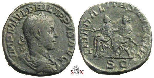 Ancient Coins - Philippus II Sestertius - LIBERALITAS AVGG III - RIC 267a