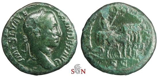 Ancient Coins - Severus Alexander As - Severus in triumphal quadriga right - RIC 498 a